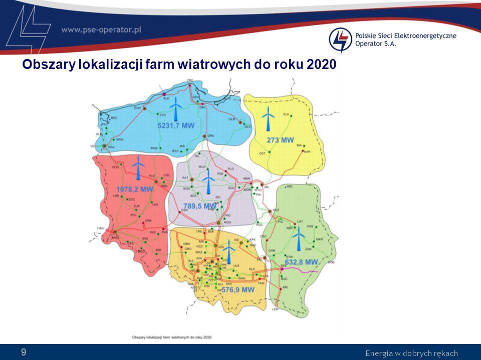 Obszary lokalizacji farm wiatrowych do roku 2020