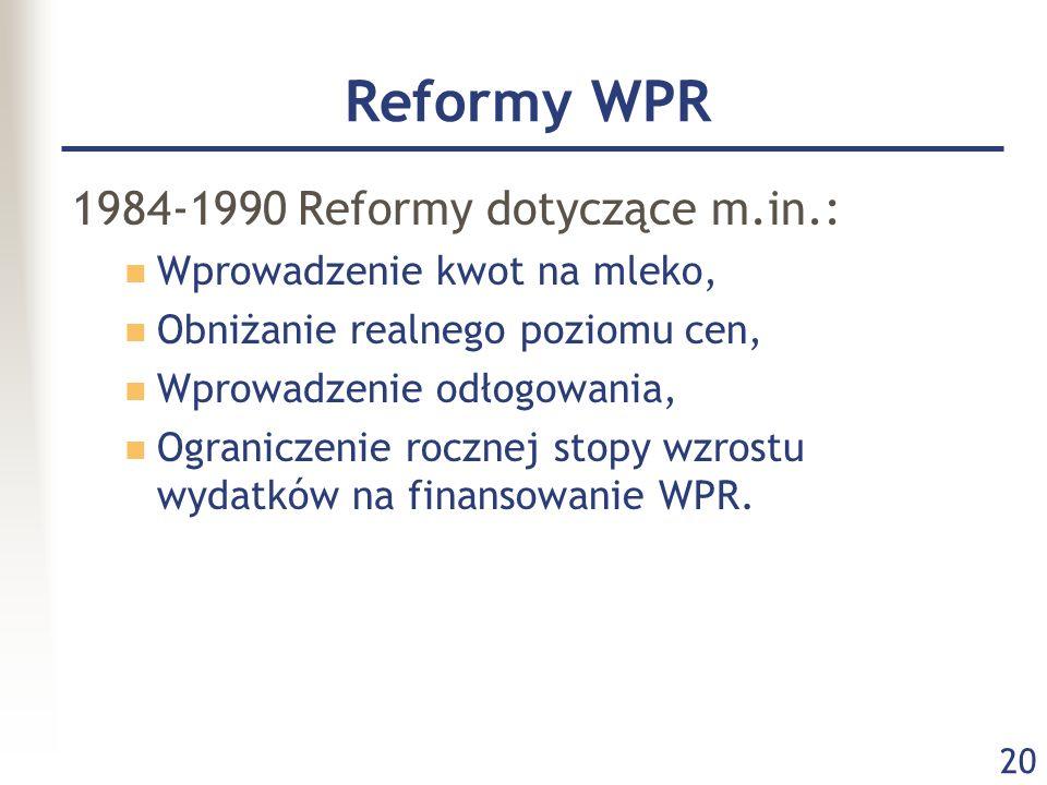 Reformy WPR 1984-1990 Reformy dotyczące m.in.: