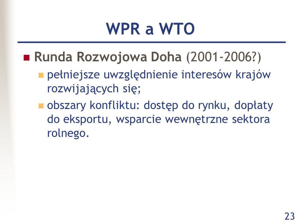 WPR a WTO Runda Rozwojowa Doha (2001-2006 )