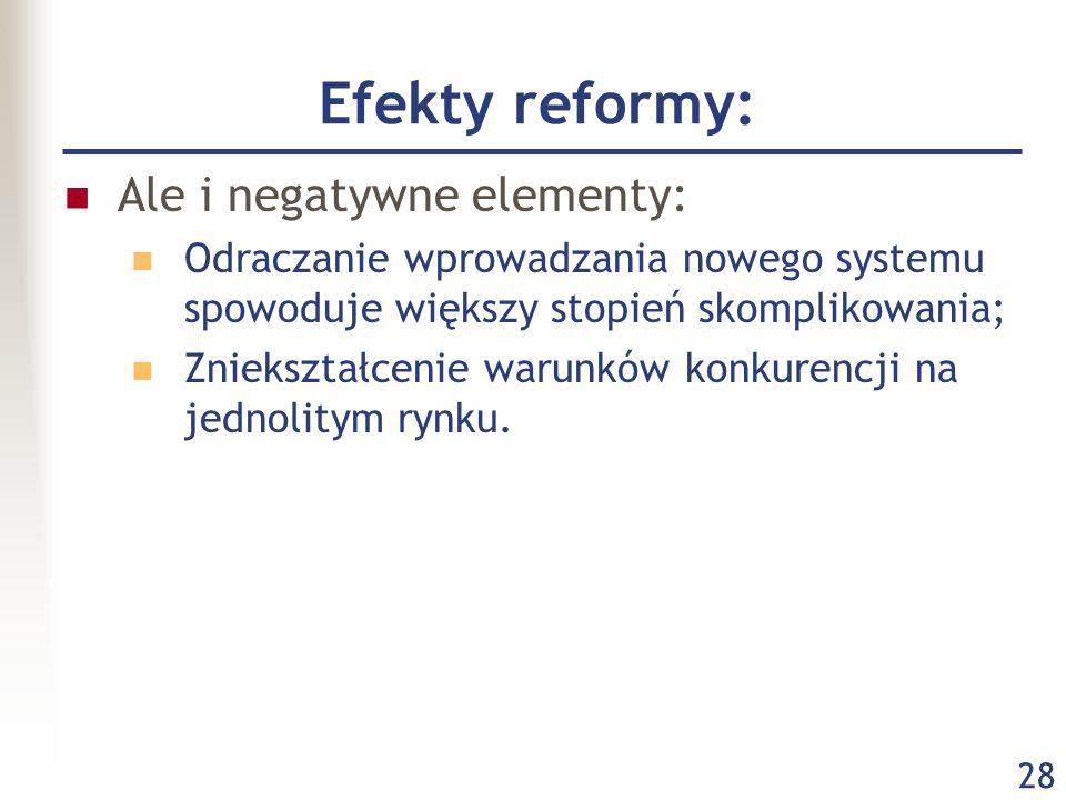 Efekty reformy: Ale i negatywne elementy: