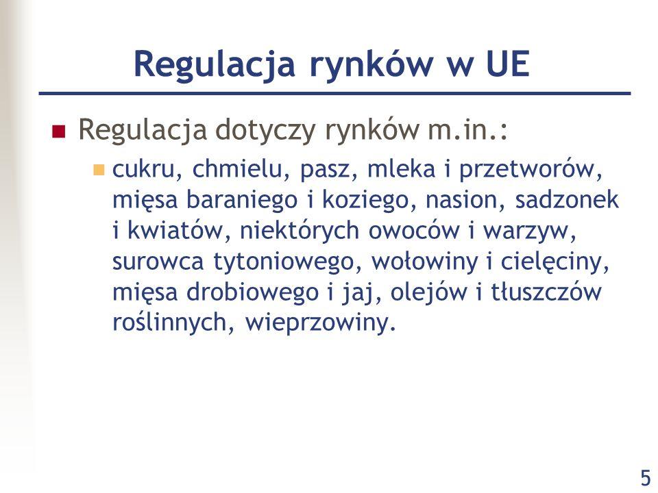 Regulacja rynków w UE Regulacja dotyczy rynków m.in.: