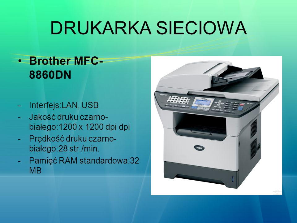 DRUKARKA SIECIOWA Brother MFC-8860DN Interfejs:LAN, USB