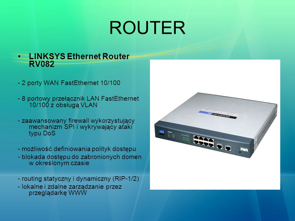 ROUTER LINKSYS Ethernet Router RV082 - 2 porty WAN FastEthernet 10/100