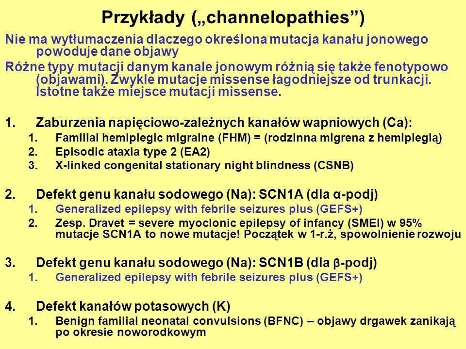 """Przykłady (""""channelopathies )"""