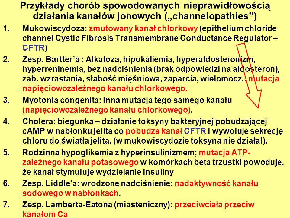 """Przykłady chorób spowodowanych nieprawidłowością działania kanałów jonowych (""""channelopathies )"""