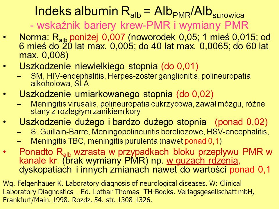 Indeks albumin Ralb = AlbPMR/Albsurowica - wskaźnik bariery krew-PMR i wymiany PMR