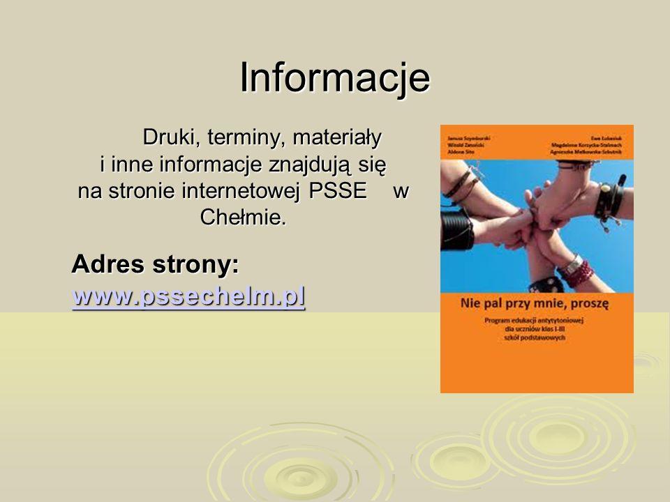Informacje Adres strony: www.pssechelm.pl