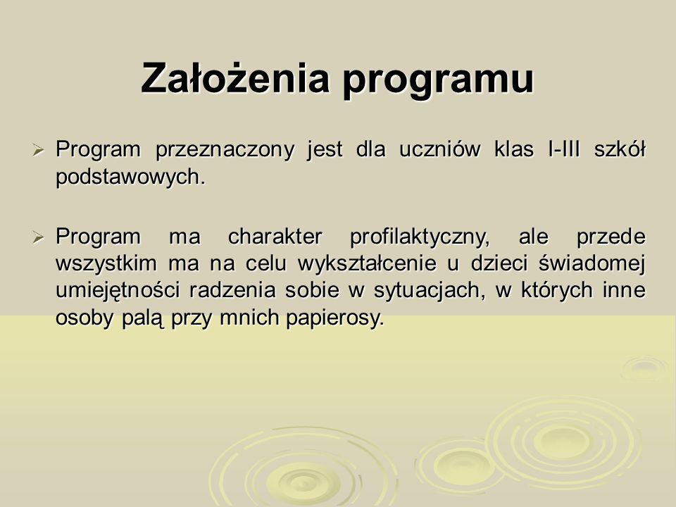 Założenia programu Program przeznaczony jest dla uczniów klas I-III szkół podstawowych.