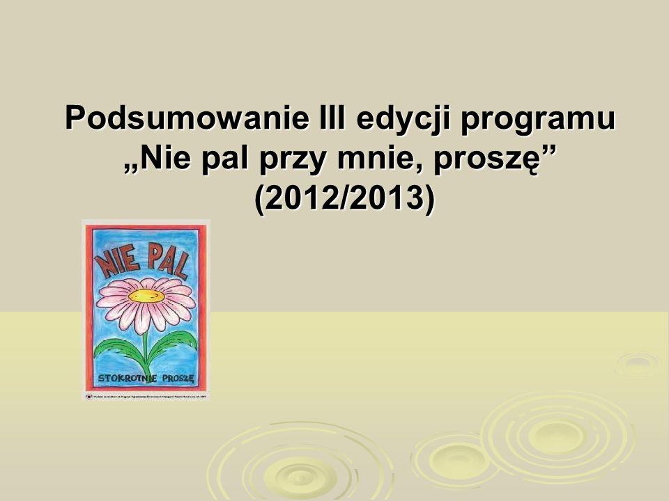 """Podsumowanie III edycji programu """"Nie pal przy mnie, proszę (2012/2013)"""