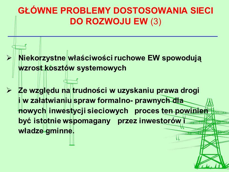 GŁÓWNE PROBLEMY DOSTOSOWANIA SIECI DO ROZWOJU EW (3)