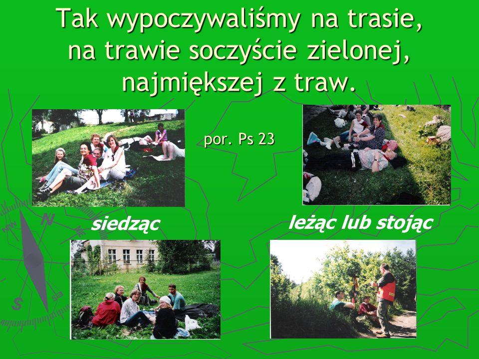 Tak wypoczywaliśmy na trasie, na trawie soczyście zielonej, najmiększej z traw. por. Ps 23