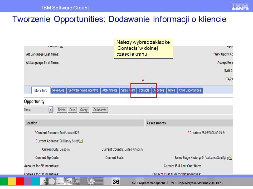 Tworzenie Opportunities: Dodawanie informacji o kliencie