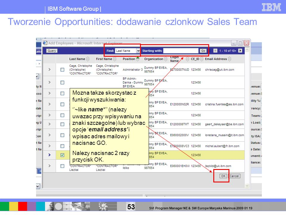 Tworzenie Opportunities: dodawanie czlonkow Sales Team