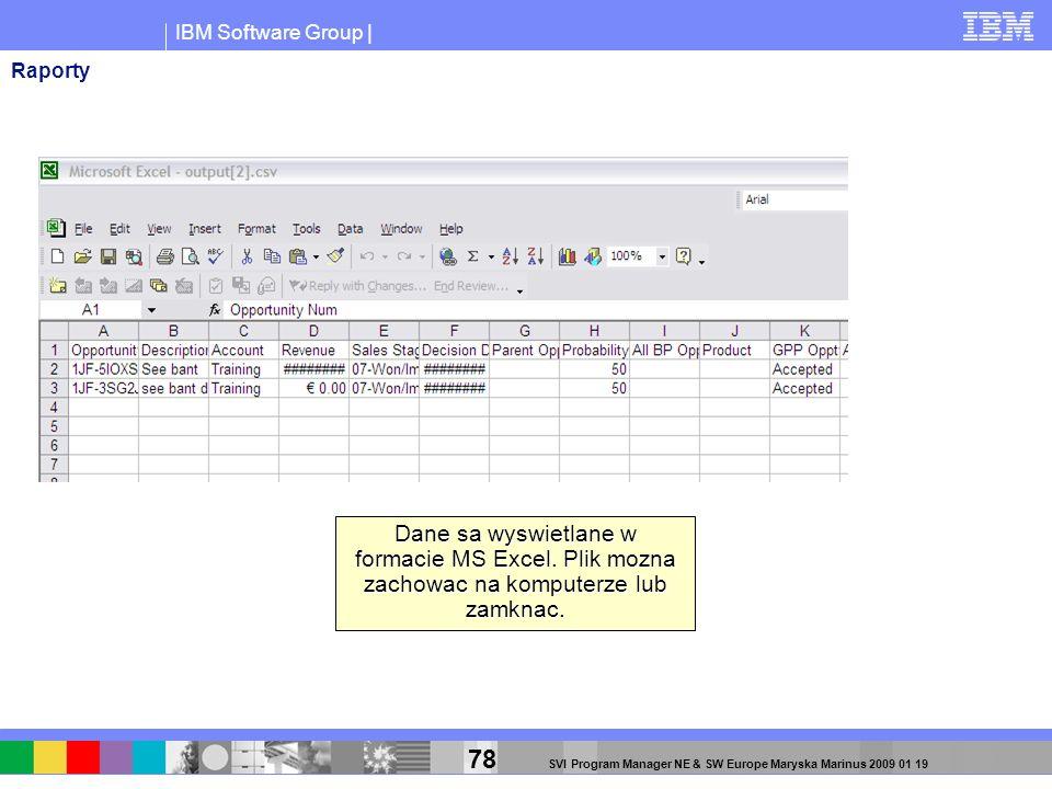 Raporty Dane sa wyswietlane w formacie MS Excel. Plik mozna zachowac na komputerze lub zamknac.