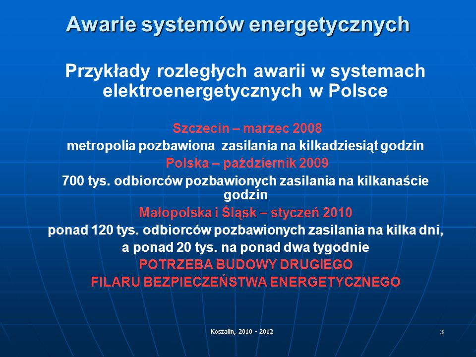 Awarie systemów energetycznych