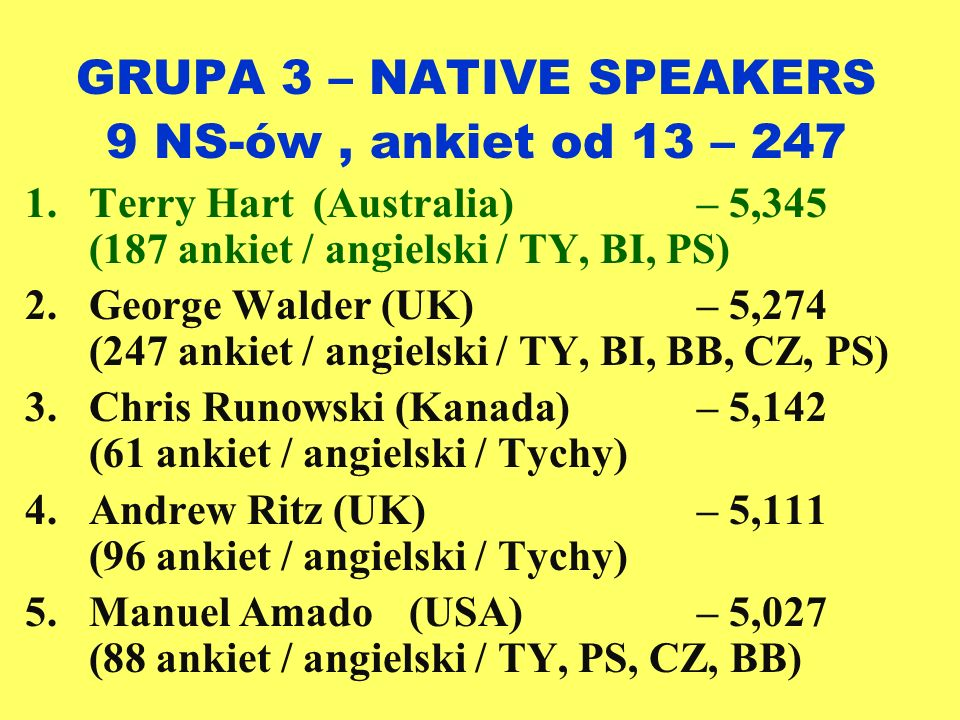 GRUPA 3 – NATIVE SPEAKERS