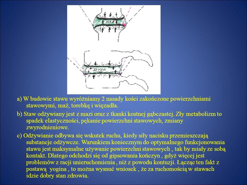 a) W budowie stawu wyróżniamy 2 nasady kości zakończone powierzchniami stawowymi, maź, torebkę i więzadła.