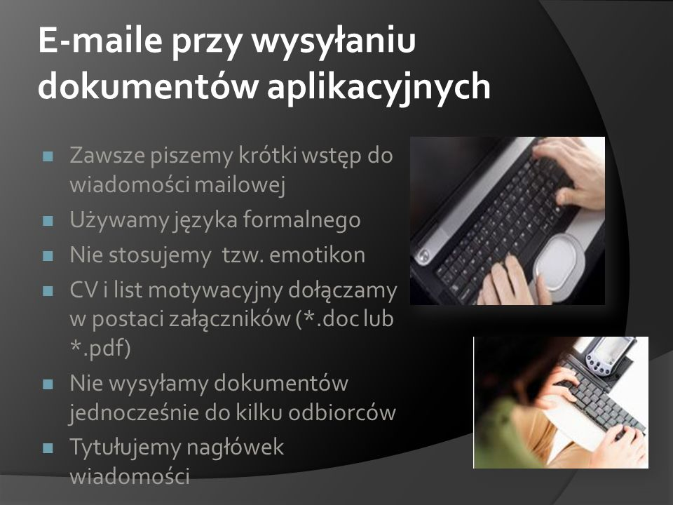 E-maile przy wysyłaniu dokumentów aplikacyjnych