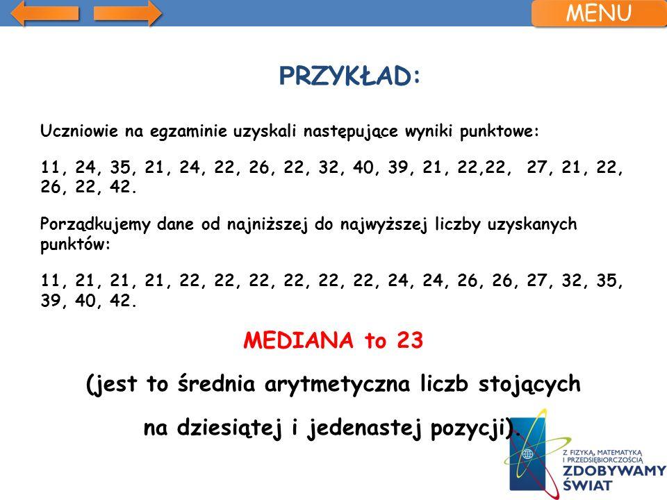 Przykład: MENU MEDIANA to 23