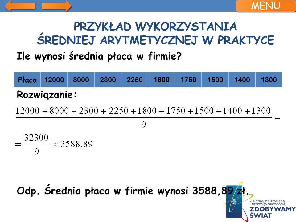 Przykład wykorzystania średniej arytmetycznej w praktyce