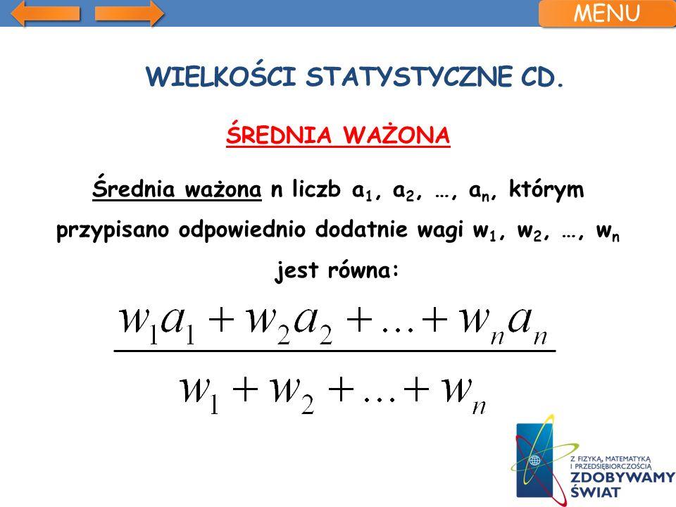 Wielkości statystyczne cd.