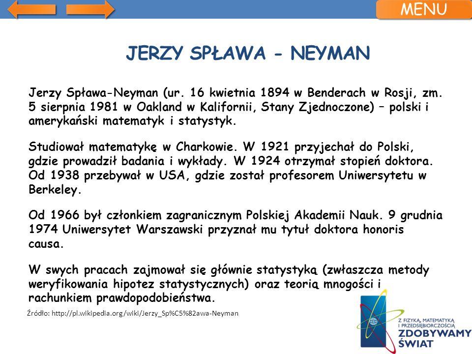 Jerzy spława - neyman MENU