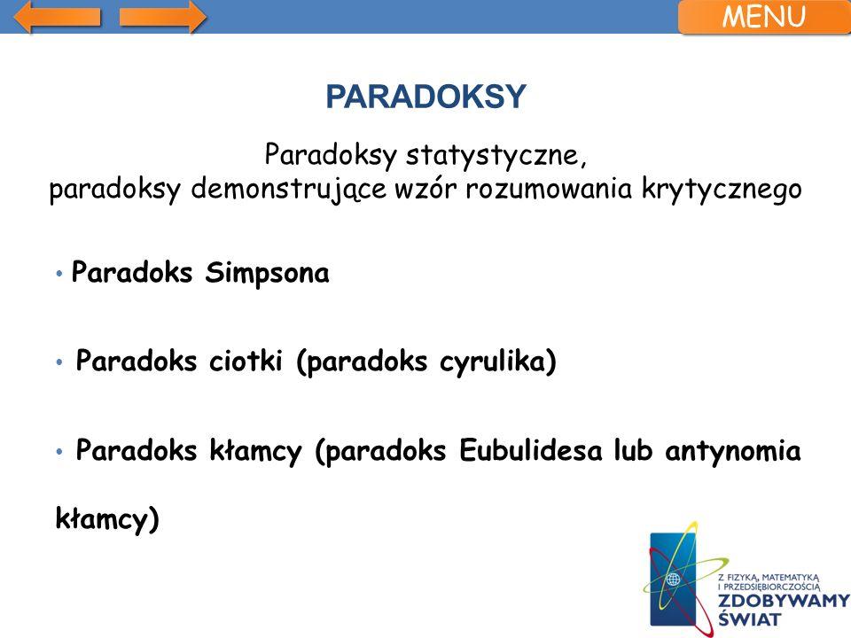 MENUParadoksy. Paradoksy statystyczne, paradoksy demonstrujące wzór rozumowania krytycznego. Paradoks Simpsona.