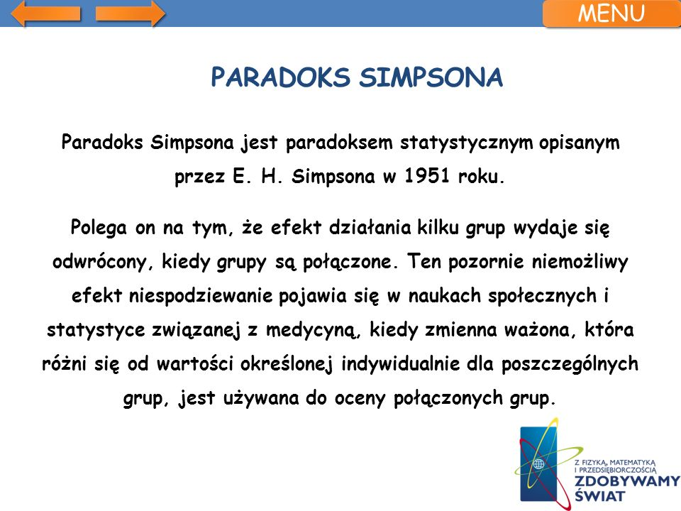 Paradoks Simpsona MENU