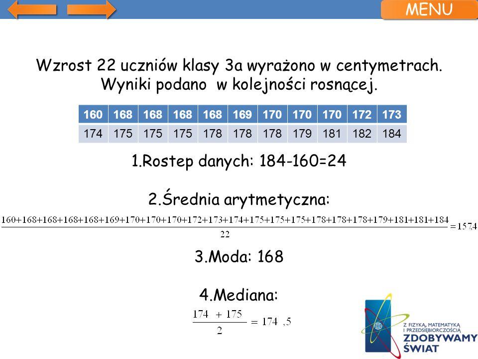 Wzrost 22 uczniów klasy 3a wyrażono w centymetrach.