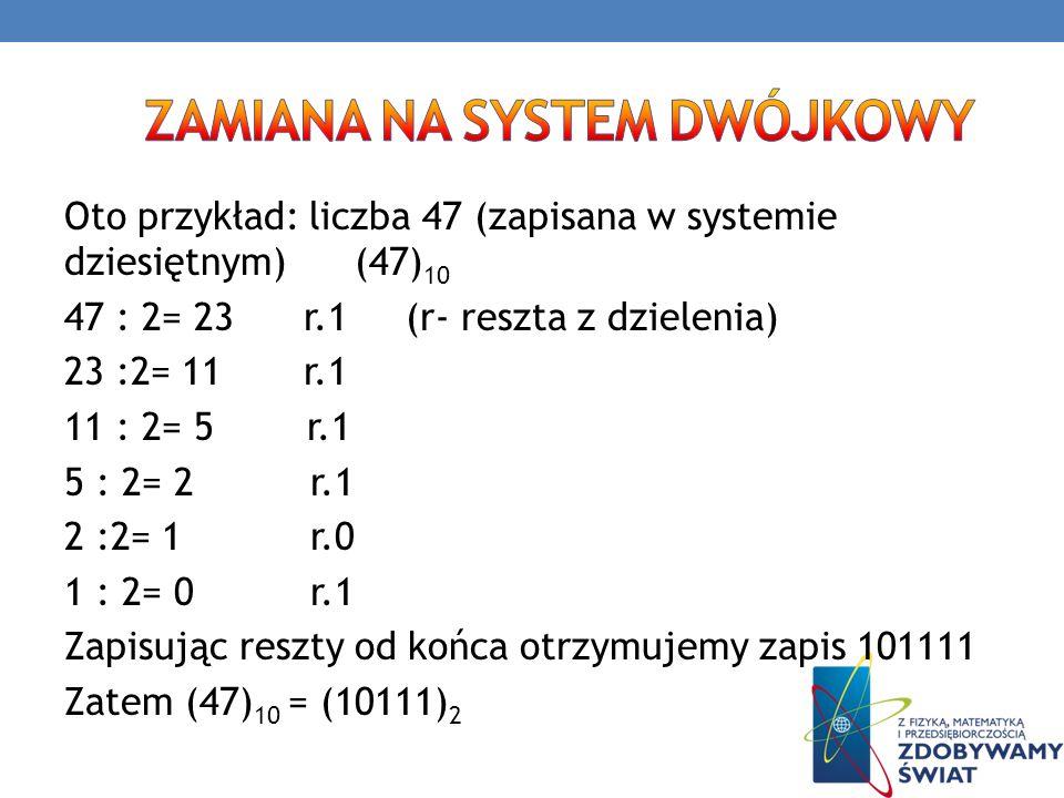 zamiana na system dwójkowy
