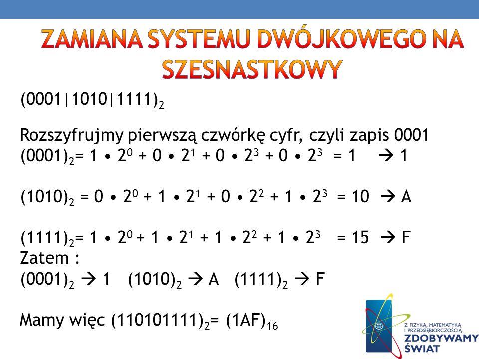 zamiana systemu dwójkowego na szesnastkowy