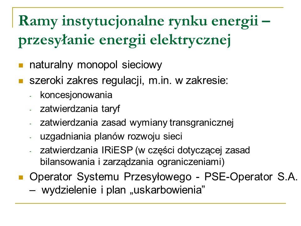 Ramy instytucjonalne rynku energii – przesyłanie energii elektrycznej
