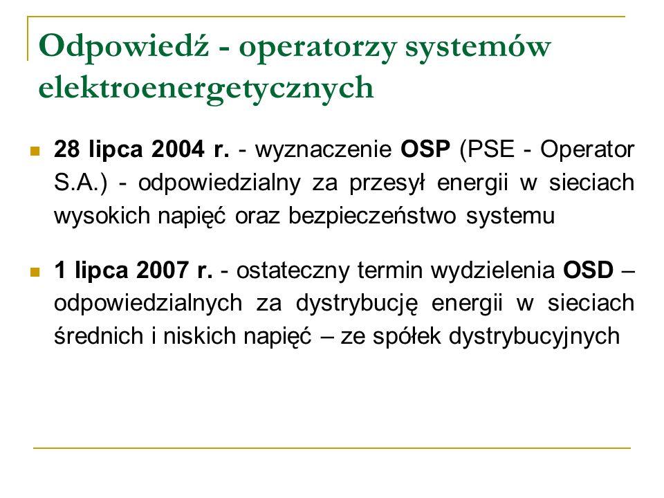 Odpowiedź - operatorzy systemów elektroenergetycznych