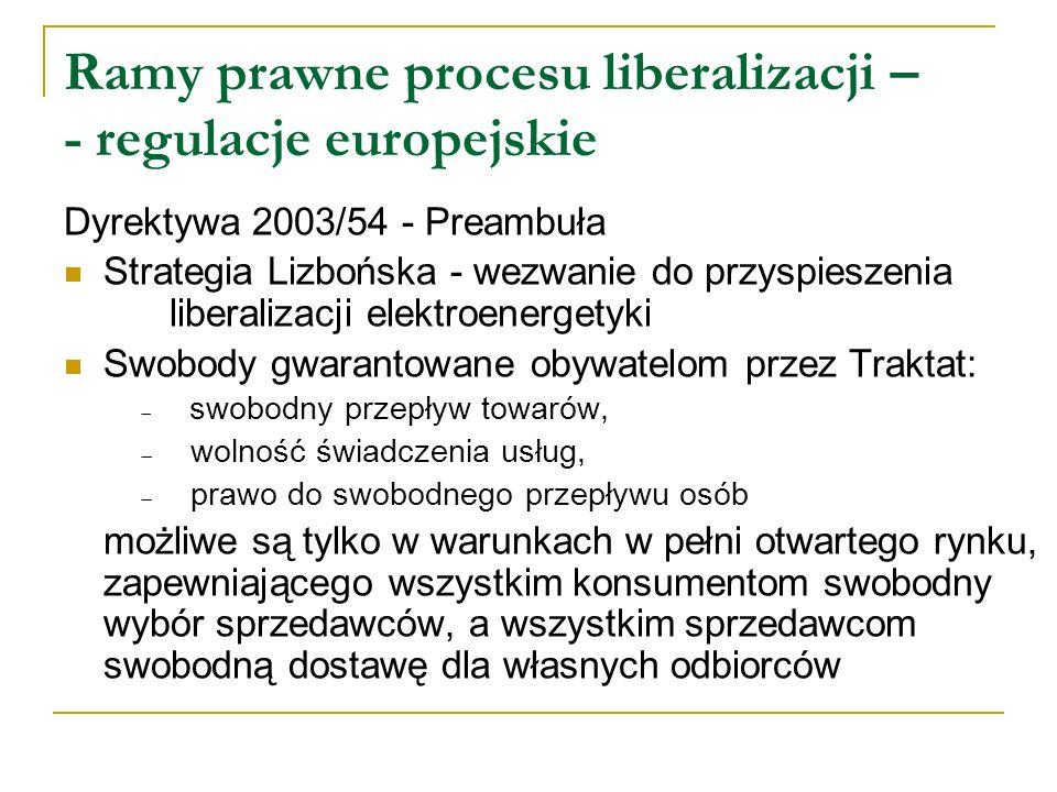 Ramy prawne procesu liberalizacji – - regulacje europejskie