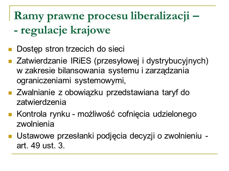 Ramy prawne procesu liberalizacji – - regulacje krajowe