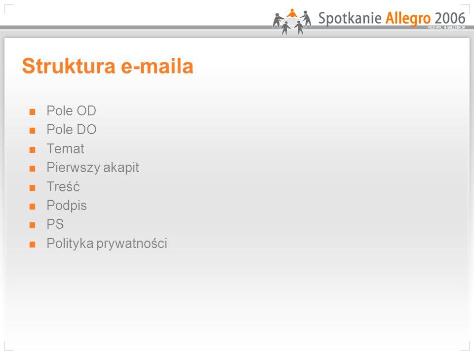 Struktura e-maila Pole OD Pole DO Temat Pierwszy akapit Treść Podpis
