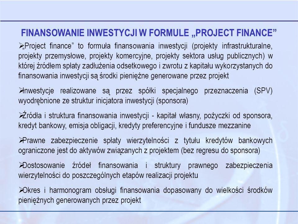 "FINANSOWANIE INWESTYCJI W FORMULE ""PROJECT FINANCE"