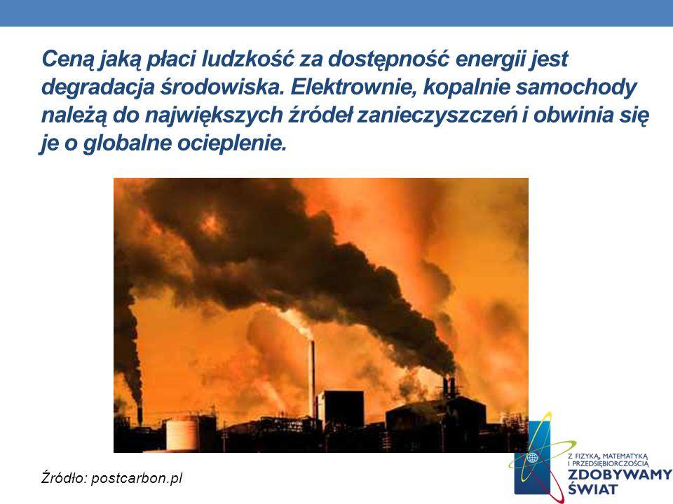 Ceną jaką płaci ludzkość za dostępność energii jest degradacja środowiska. Elektrownie, kopalnie samochody należą do największych źródeł zanieczyszczeń i obwinia się je o globalne ocieplenie.