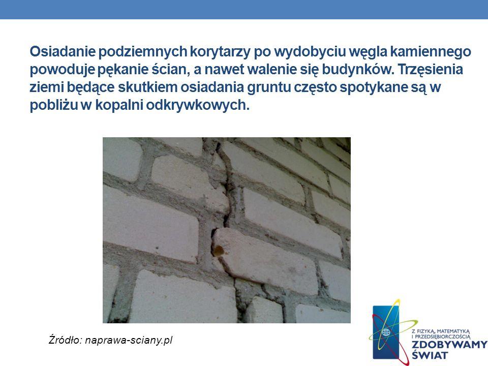 Osiadanie podziemnych korytarzy po wydobyciu węgla kamiennego powoduje pękanie ścian, a nawet walenie się budynków. Trzęsienia ziemi będące skutkiem osiadania gruntu często spotykane są w pobliżu w kopalni odkrywkowych.