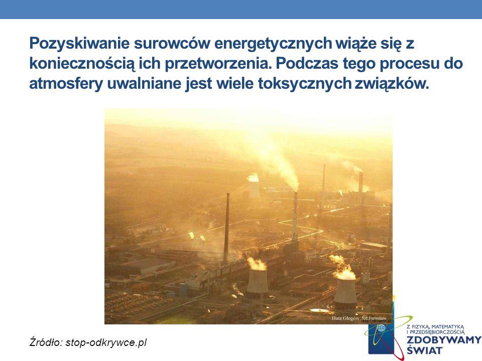 Pozyskiwanie surowców energetycznych wiąże się z koniecznością ich przetworzenia. Podczas tego procesu do atmosfery uwalniane jest wiele toksycznych związków.