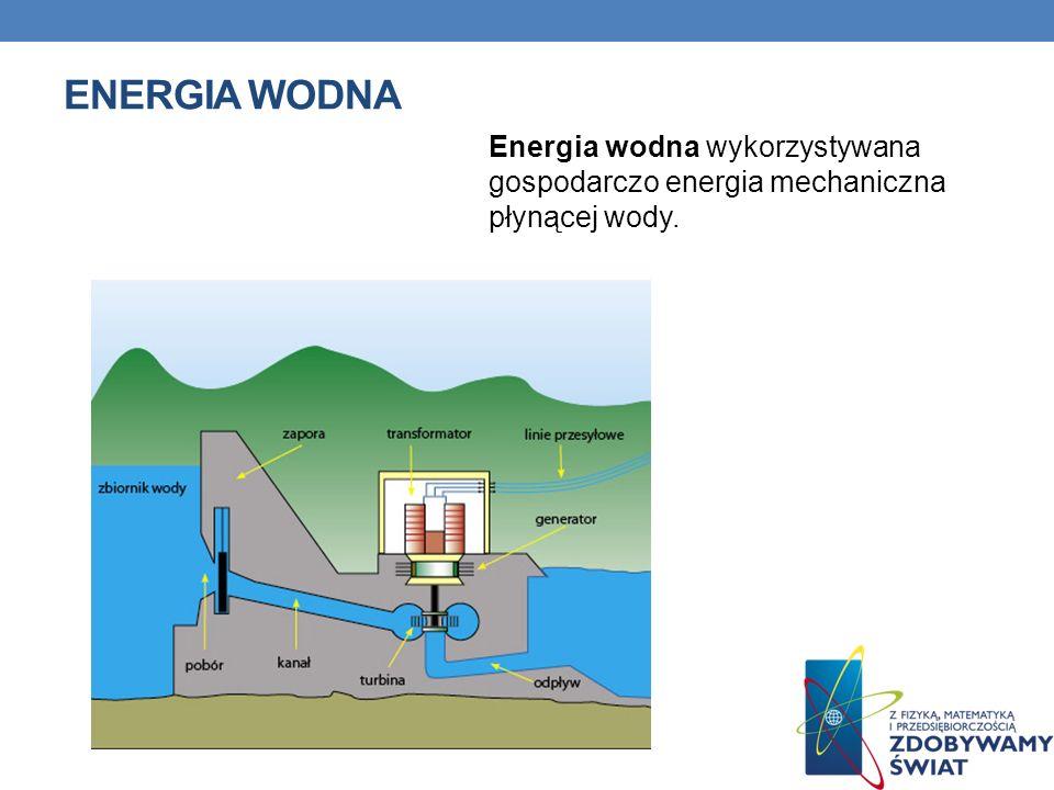 Energia wodna Energia wodna wykorzystywana gospodarczo energia mechaniczna płynącej wody.