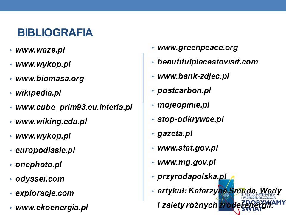 bibliografia www.greenpeace.org www.waze.pl beautifulplacestovisit.com
