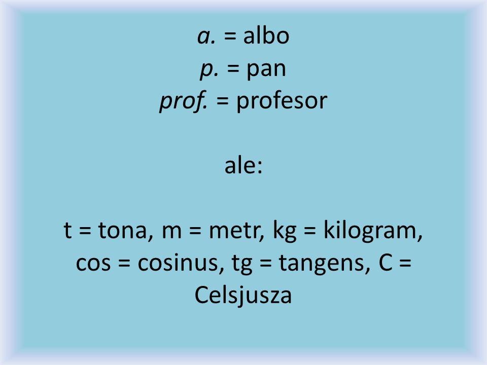 a. = albo p. = pan prof.