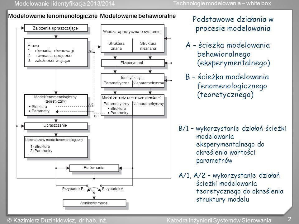 Modelowanie behawioralne Modelowanie fenomenologiczne