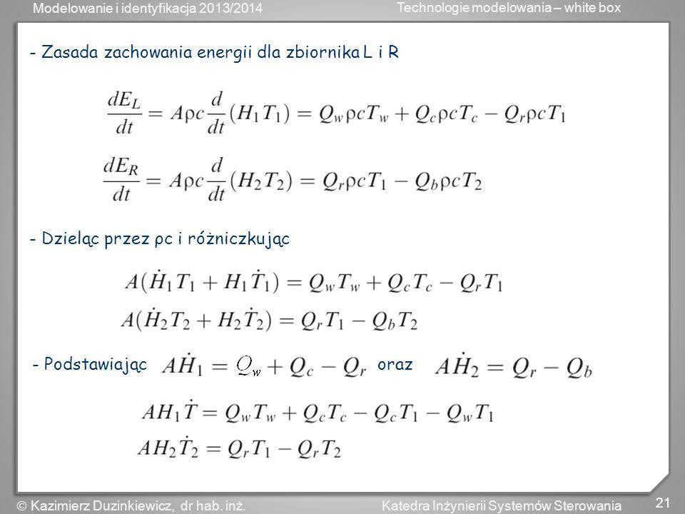 - Zasada zachowania energii dla zbiornika L i R
