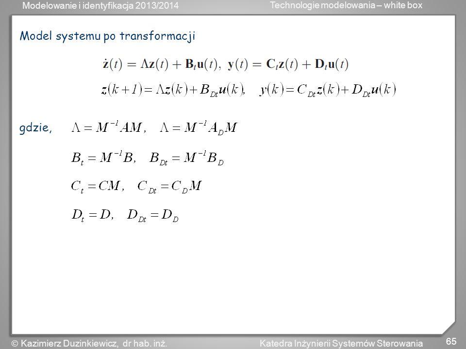 Model systemu po transformacji