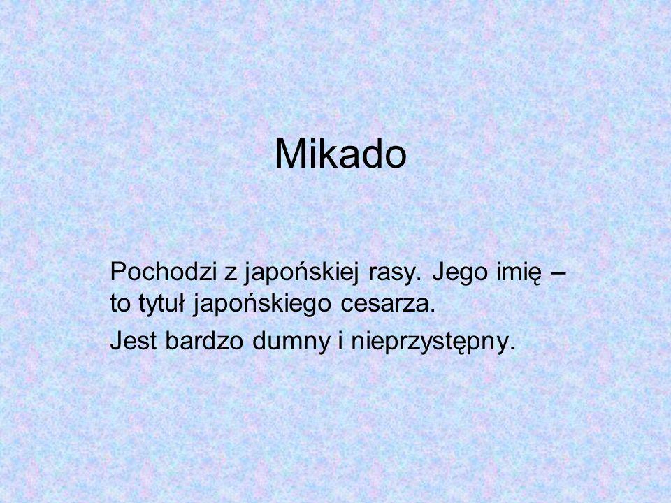 Mikado Pochodzi z japońskiej rasy. Jego imię – to tytuł japońskiego cesarza.