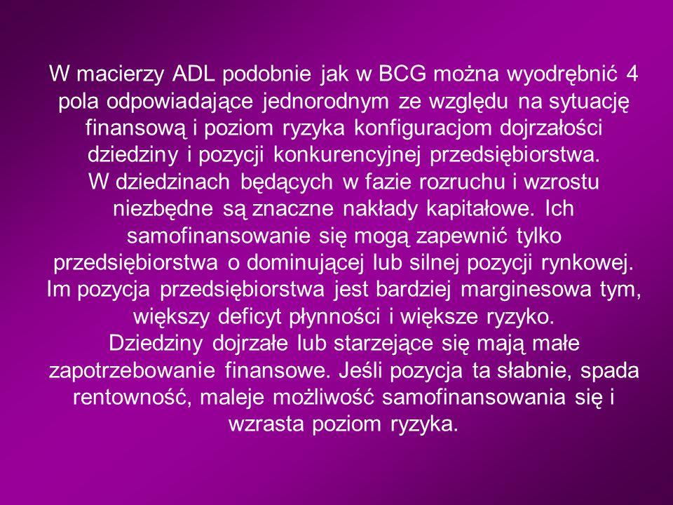 W macierzy ADL podobnie jak w BCG można wyodrębnić 4 pola odpowiadające jednorodnym ze względu na sytuację finansową i poziom ryzyka konfiguracjom dojrzałości dziedziny i pozycji konkurencyjnej przedsiębiorstwa.