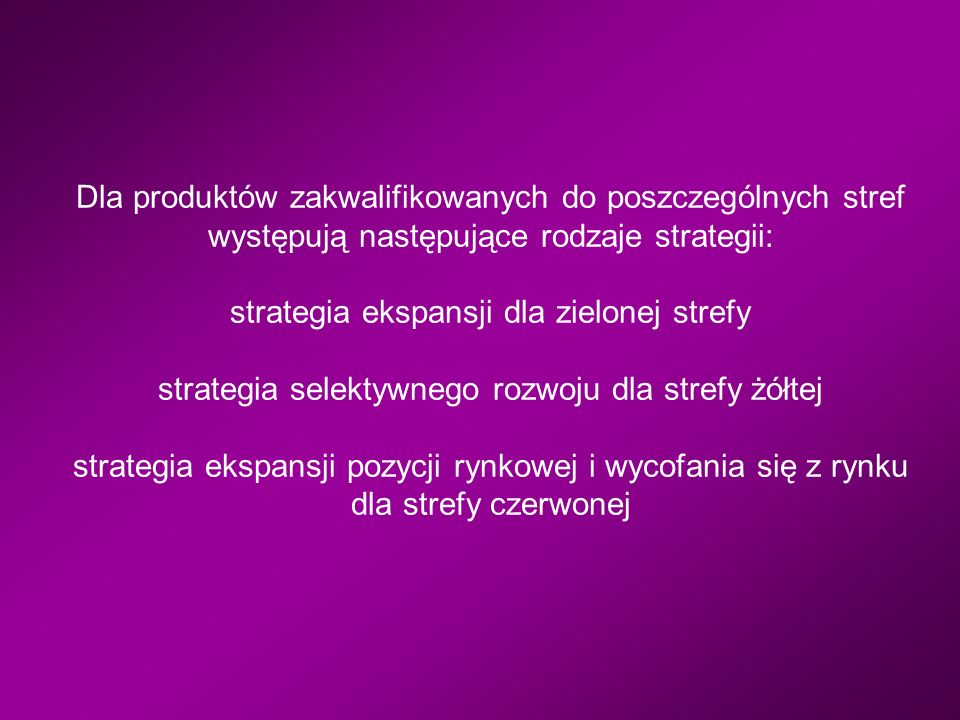 Dla produktów zakwalifikowanych do poszczególnych stref występują następujące rodzaje strategii: strategia ekspansji dla zielonej strefy strategia selektywnego rozwoju dla strefy żółtej strategia ekspansji pozycji rynkowej i wycofania się z rynku dla strefy czerwonej