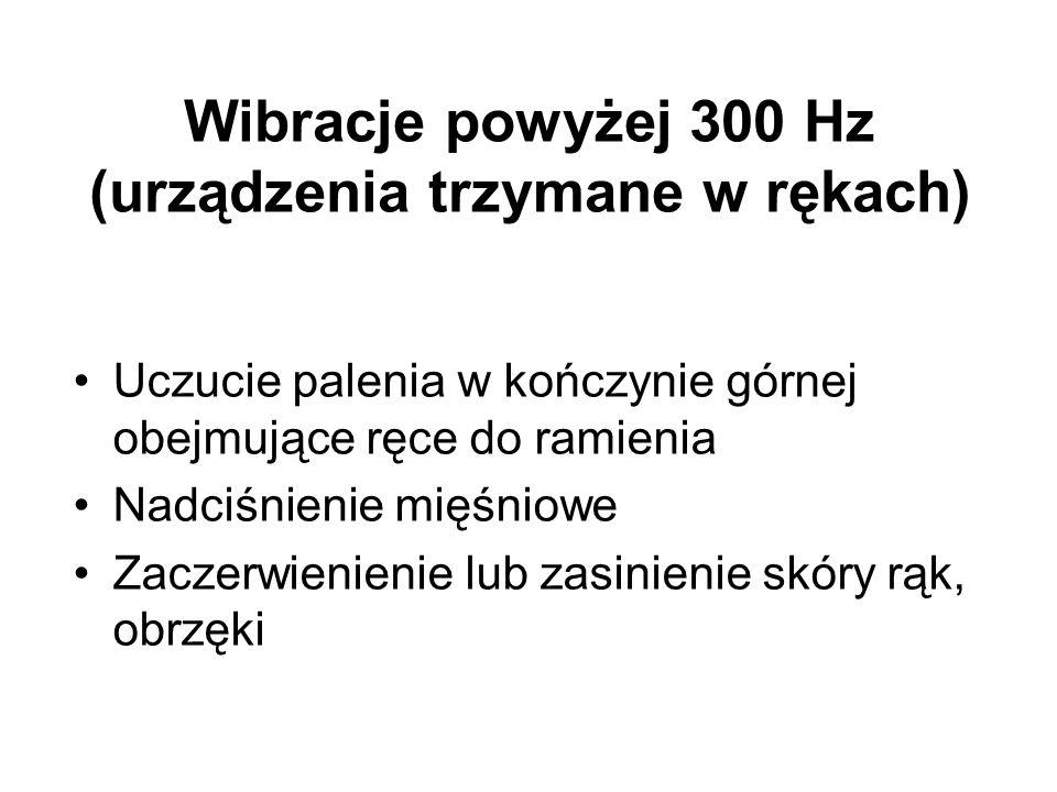 Wibracje powyżej 300 Hz (urządzenia trzymane w rękach)